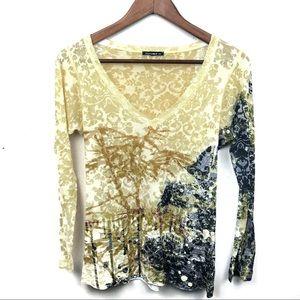 Nally & Millie Long Sleeve Burnout T Shirt Size M